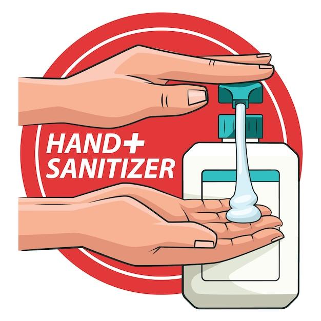 Очистка рук с иллюстрацией handsanitizer Premium векторы