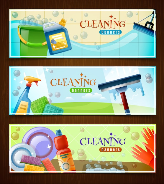 Cleaning horizontal banners set Free Vector