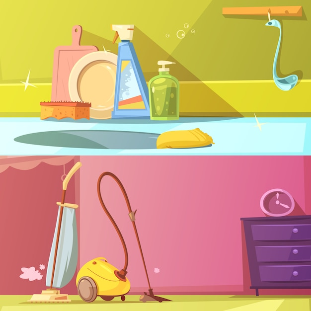 Cleaning horizontal cartoon banners set Free Vector