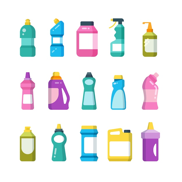Cleaning household products. chemical cleaners bottles. sanitary containers vector set Premium Vector