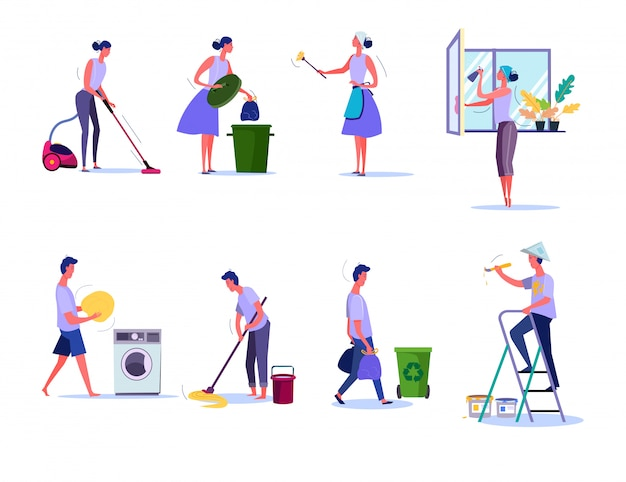 Cleaning and housekeeping set Free Vector