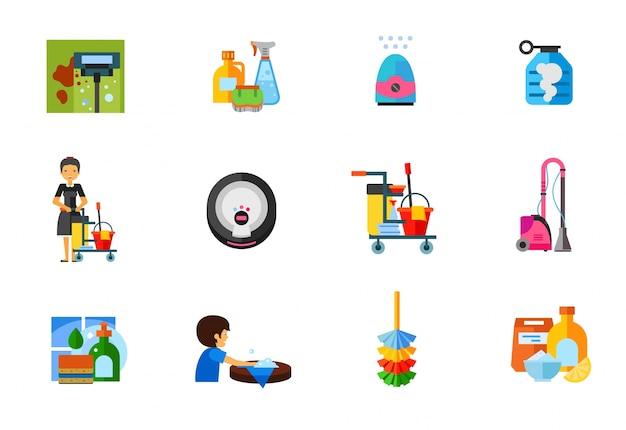 Cleaning icons collection Free Vector