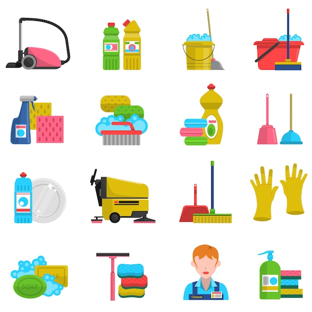 Cleaning icons set Free Vector