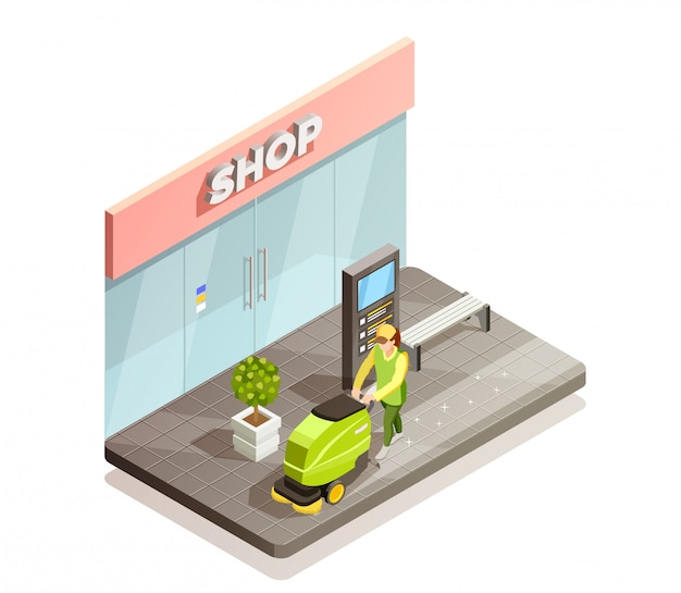 Cleaning isometric composition Free Vector