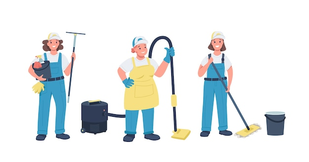 Cleaning ladies flat color detailed characters set. hard working cheerful women. woman working with cleaning equipment isolated cartoon illustration for web graphic design and animation Premium Vector