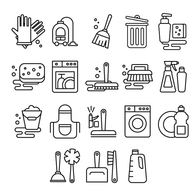 Cleaning, laundry, washing, broom, cleanliness, washing windows, freshness, bucket in flat style Premium Vector