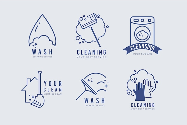 Cleaning logo collection concept Premium Vector