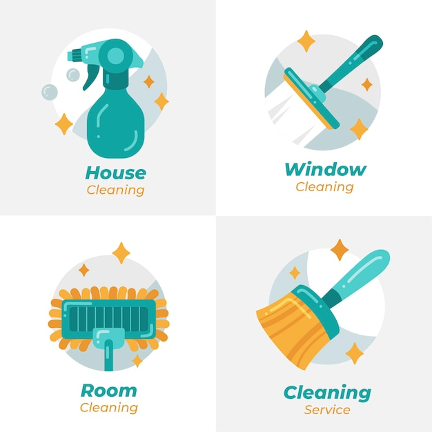 Cleaning logo collection Premium Vector
