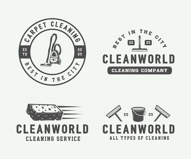 Cleaning logo set Premium Vector