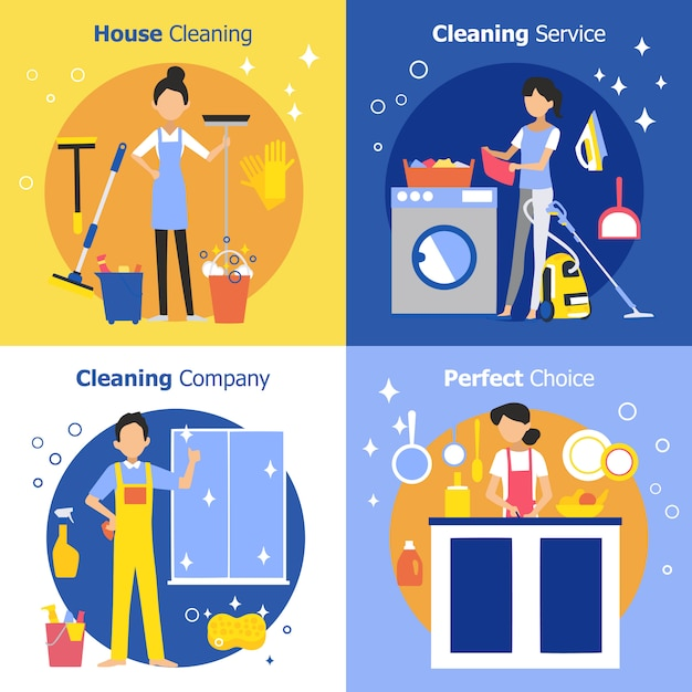 Cleaning people concept Free Vector