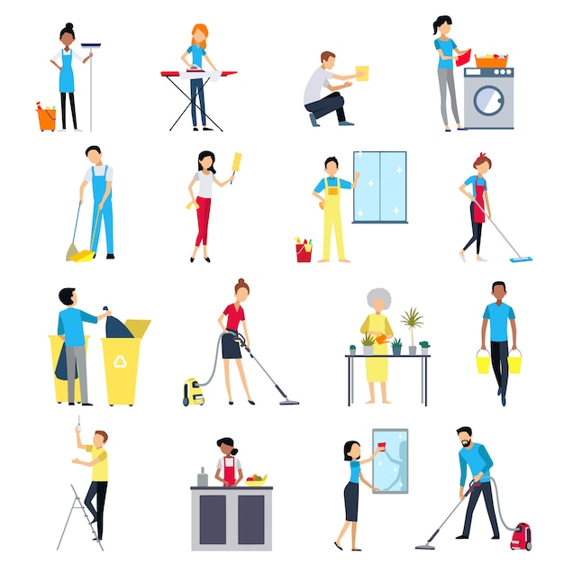Cleaning people icons set Free Vector