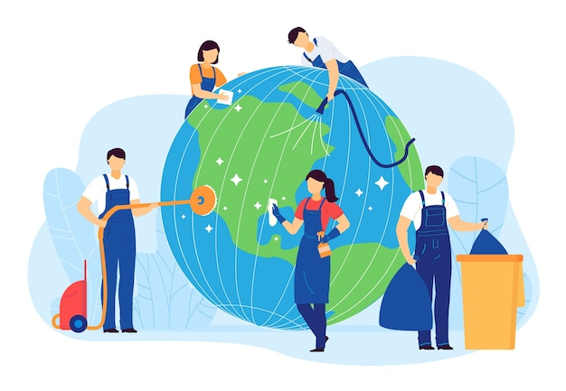 Cleaning planet people vector illustration. cartoon flat volunteer cleaner characters clean, care globe earth, collect plastic waste. world ecology, environment Premium Vector