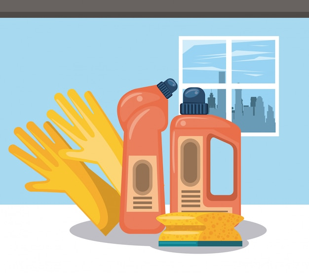 Cleaning products for home cartoons Free Vector
