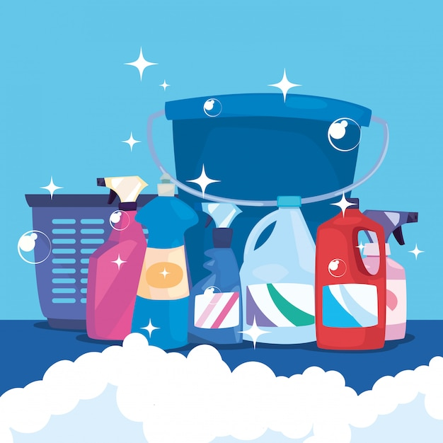 Cleaning products and supplies Premium Vector