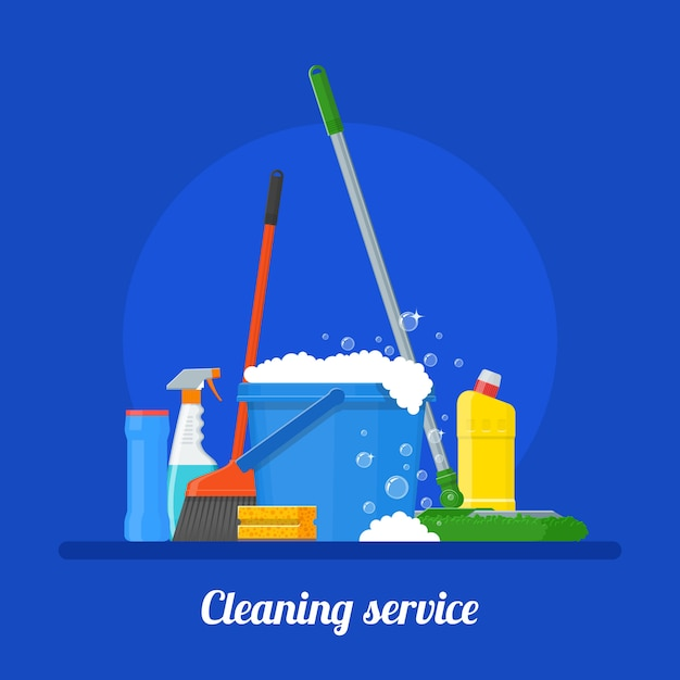 Cleaning service company illustration Premium Vector
