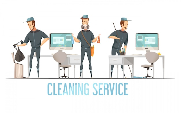 Cleaning service concept with male person in uniform doing removal of waste cleaning and disinfection of premises Free Vector