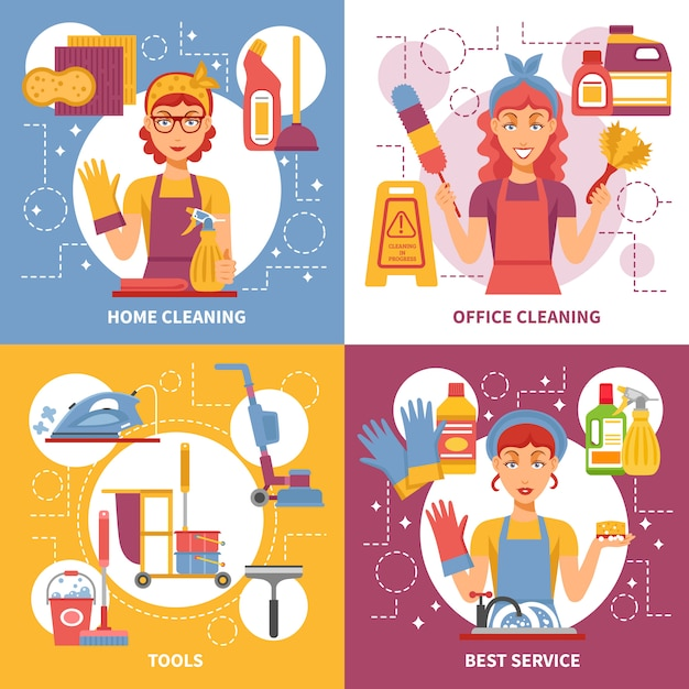 Cleaning service design concept Free Vector