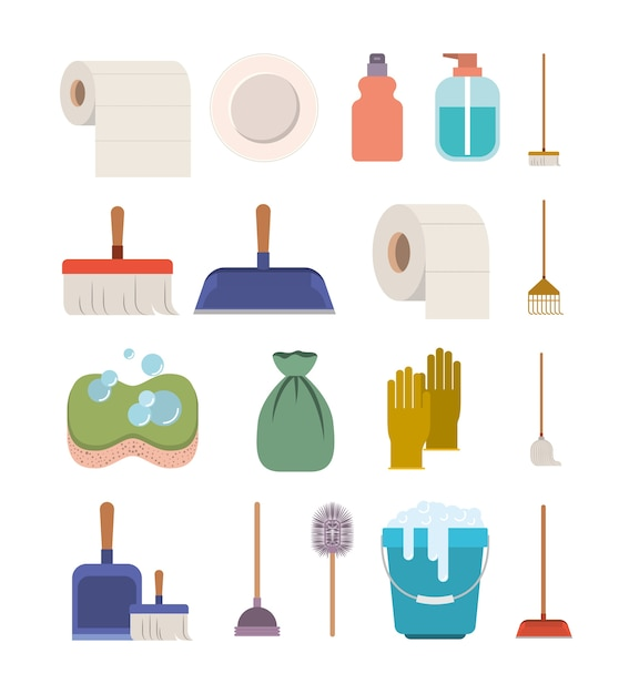 Cleaning service elements colorful silhouette Premium Vector