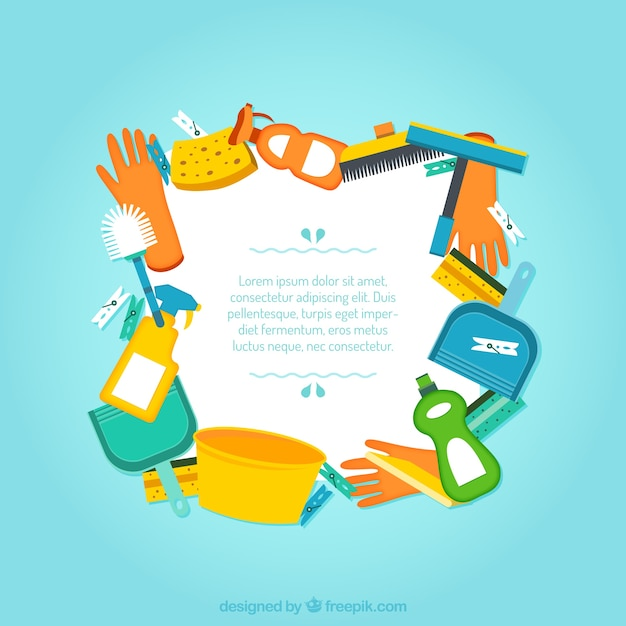 Cleaning service frame Free Vector