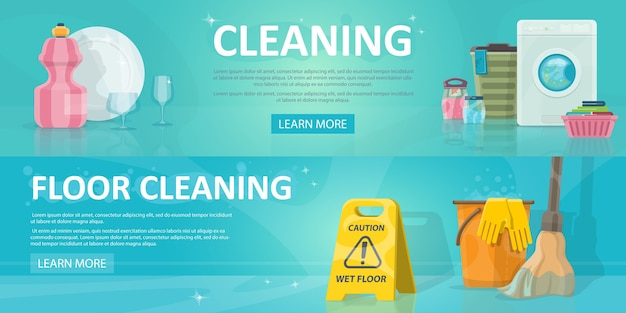 Cleaning service horizontal banners Free Vector