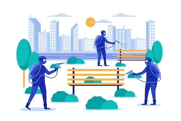 Концепция уборки в общественных местах Бесплатные векторы