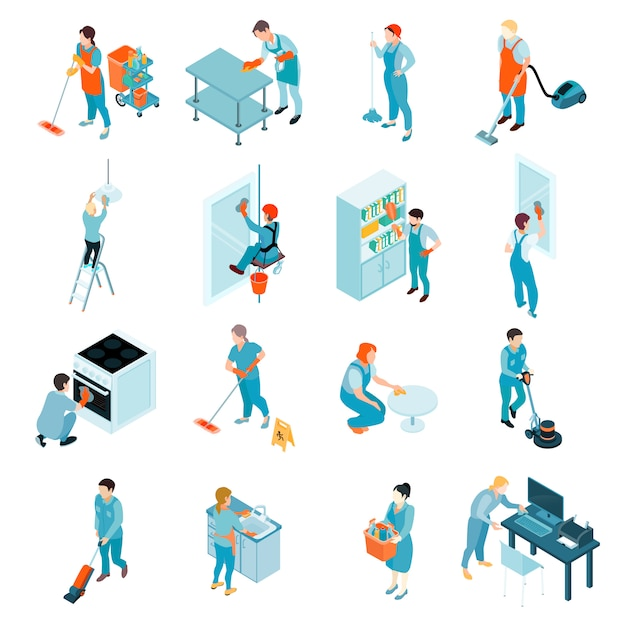 Cleaning service isometric set Free Vector
