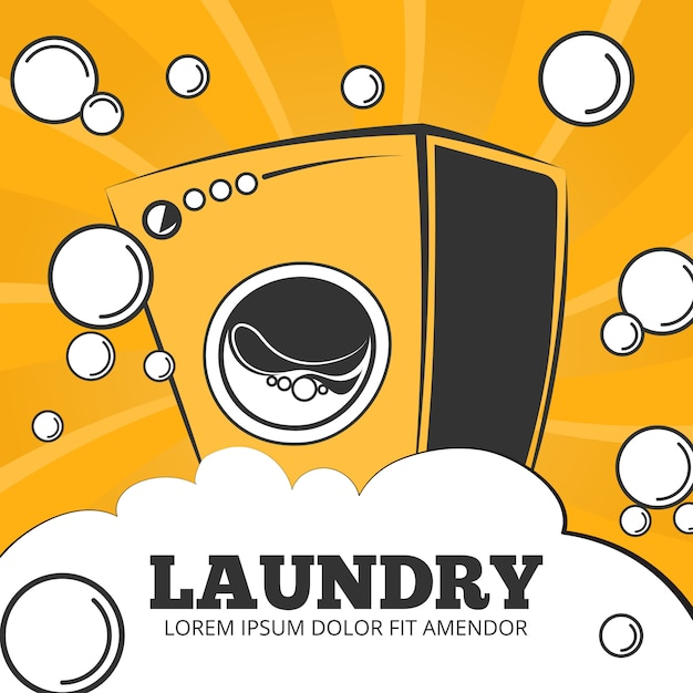 Cleaning service and laundry Premium Vector