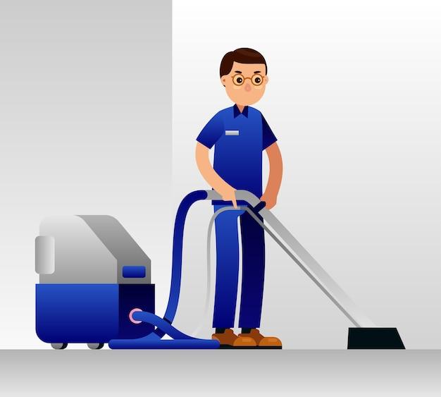 Cleaning service man. floor, carpet, vacum cleaning Premium Vector
