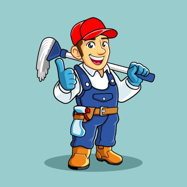 Cleaning service mascot Premium Vector