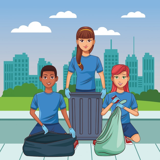 Cleaning service person avatar cartoon character Free Vector