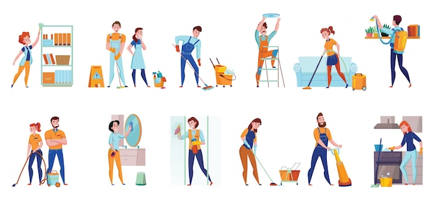 Cleaning service professional duties flat  compositions 2 horizontal sets with floor  sweeping vacuuming mirrors washing  illustration Free Vector