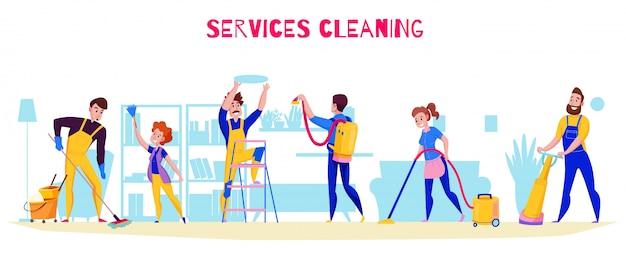 Le funzioni professionali di servizio di pulizia offrono una composizione orizzontale piana con l'illustrazione di spolveratura degli scaffali di aspirazione di lucidatura di lavaggio del pavimento Vettore gratuito