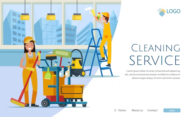 Cleaning service with workers website design, Premium Vector