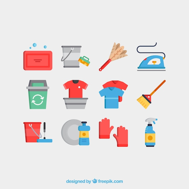 Cleaning services icons vector set Free Vector