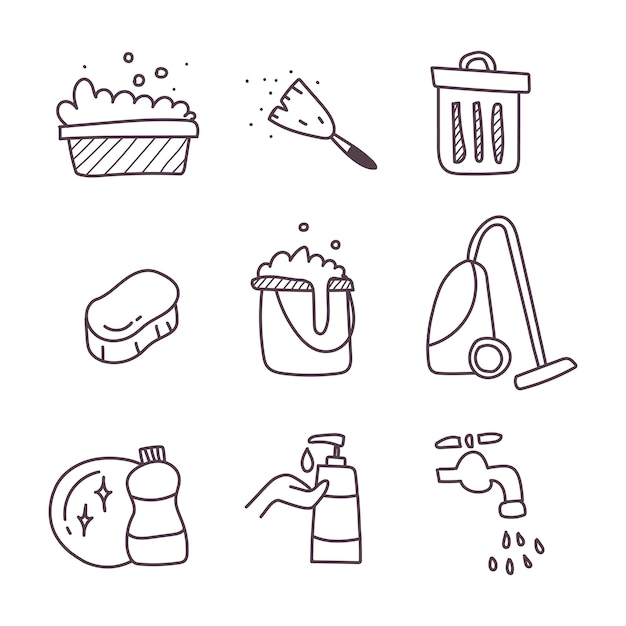 Cleaning a set of icon. hand draw Premium Vector