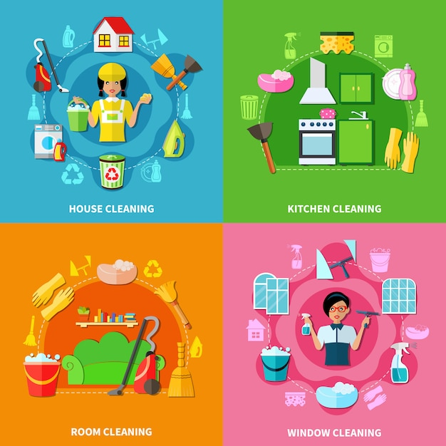 Cleaning square compositions set Free Vector