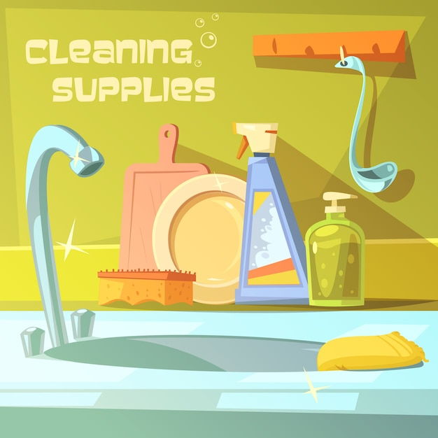 Cleaning supplies cartoon background Free Vector