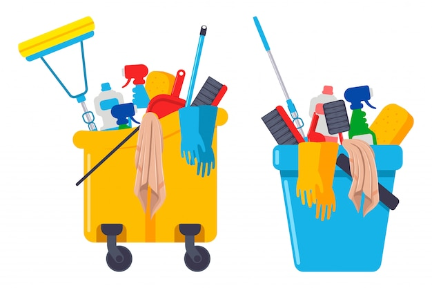 Cleaning supplies and equipments in bucket Premium Vector