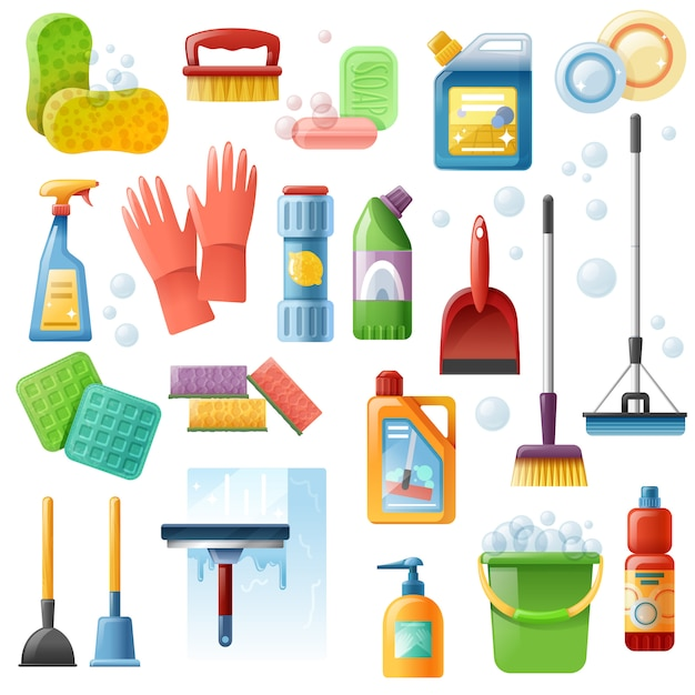 Cleaning supplies tools flat icons set Free Vector