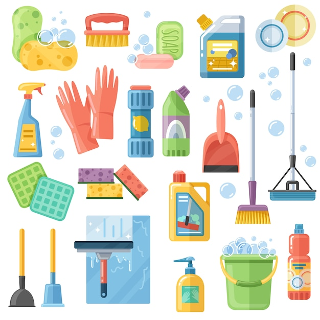 Cleaning suppliestools flat icons set Free Vector
