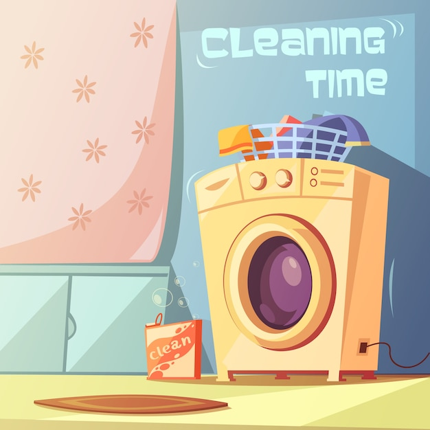 Cleaning time cartoon background Free Vector