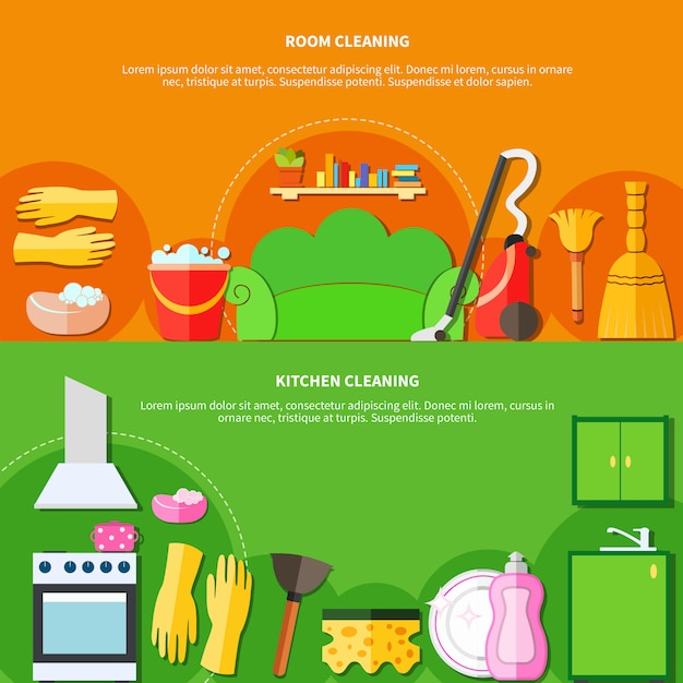 Cleaning tools banners set Free Vector