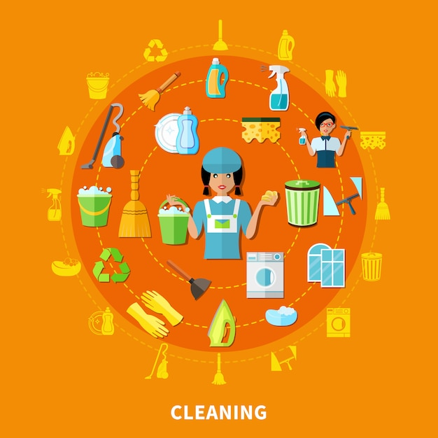 Cleaning tools round composition Free Vector