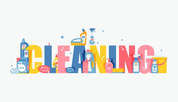 Cleaning typography  illustration, flat style cover for brochure or booklet Premium Vector