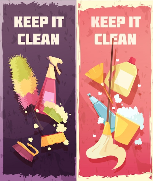 Cleaning vertical banners Free Vector