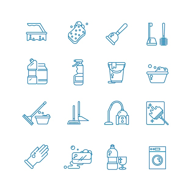 Cleaning and washing house outline icons. Premium Vector