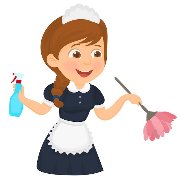 Cleaning woman in classic maid dress Premium Vector