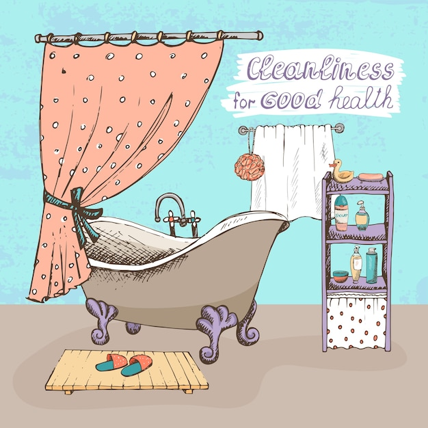 Cleanliness for good health concept showing a bathroom interior with a vintage ball and claw bathtub Free Vector