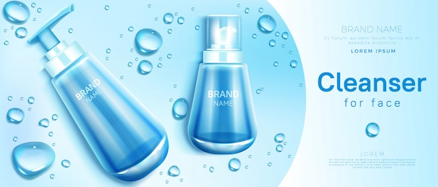 Cleanser for face cosmetics bottle Free Vector