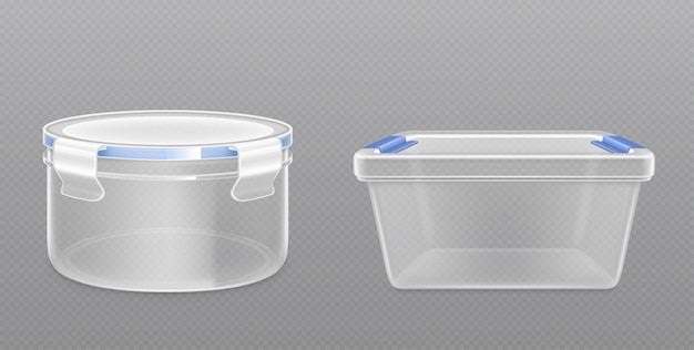 Clear empty plastic bucket front view Free Vector